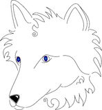 Stylized Line art White Wolf. Hand drawn stylized line art white wolf with blue gradient eyes vector illustration