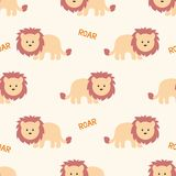 Stylized lion cartoon style. Background. Stylized lion cartoon style. Seamless vector pattern Royalty Free Stock Photos