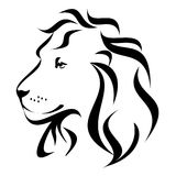 Stylized Lion head Profile. Stylized decorative abstract lion face profile illustration in black and white swirl lines vector illustration