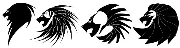 Set of Stylized lions in black. Set representing stylized artistic lions, usable as tattoo or other projects royalty free illustration
