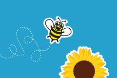 Stylized little bee and sunflower royalty free illustration