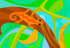 Stylized lizard on a branch in the forest Stock Images