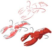 Stylized lobster isolated Royalty Free Stock Image