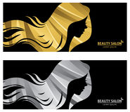 Stylized long haired woman in profile for beauty salon Royalty Free Stock Photos