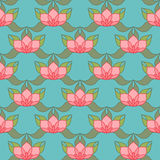 Stylized Lotus Background. Pink stylized lotus flowers on light blue background. Seamless repeat Royalty Free Stock Photography