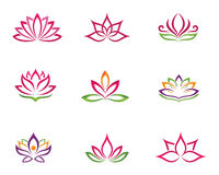 Stylized lotus flower icon vector background. Vector lotus flowers design for spa, yoga class, hotel and resort Stock Image