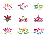 Stylized lotus flower icon vector background Royalty Free Stock Photos