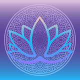 Stylized lotus flower logo in shades of blue and purple framed with round floral mandala on gradient background Hand drawn fantasy Royalty Free Stock Image