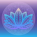Stylized lotus flower logo in shades of blue and purple framed with round floral mandala on gradient background Hand drawn fantasy. Design for tattoo, fabric Stock Photos