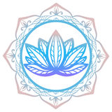 Stylized lotus flower in shades of purple and blue framed with floral mandala isolated on white background Hand drawn fantasy desi Royalty Free Stock Photos