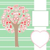 Stylized love tree made of hearts with a message Stock Photos