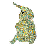 Stylized mönstrade illustrationen av elefanten Royaltyfria Bilder