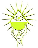 Stylized man with all seeing eye. Image representing a stylized man with a stylized a stylized all seeing eye in his hands Stock Photography