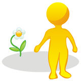 Stylized man and flower Stock Photos