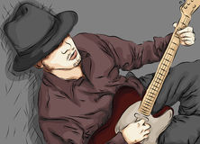 Stylized man playing the guitar Stock Image