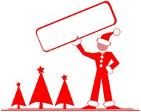 Stylized man with signboard and christmas trees. Image representing a stylized man with a signboard in his hands. An idea tha can be used in all projects about Stock Images