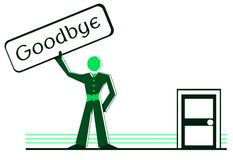 Stylized man with signboard with word goodbye Stock Photography