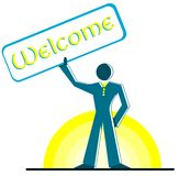 Stylized man with signboard with word welcome Royalty Free Stock Photography