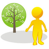 Stylized man and tree Royalty Free Stock Photo