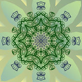 Stylized mandala star on green banner vector Royalty Free Stock Images