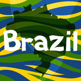 Stylized map of Brazil with abstract color stripes Stock Photos