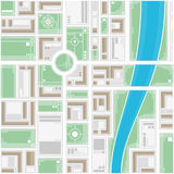 Stylized map of the city. A generic city map of an imaginary city. Editable vector street map of a fictional generic town. Vector city map with typical locations Stock Photo