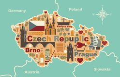 Stylized map of Czech Republic. Traditional symbols of the Czech Republic in the form of a map Stock Images