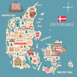 Stylized map of Denmark. Travel illustration with danish landmarks, architecture, national flag, and other symbols in flat style. Vector illustration royalty free illustration