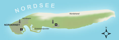 Stylized map of the german island of Norderney Stock Photography