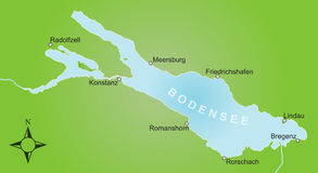 Stylized map of lake Constance and surroundings Royalty Free Stock Photos