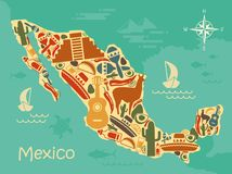 Stylized map of Mexico. With traditional symbols stock illustration