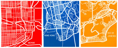 Stylized map of Miami, Rio de Janeiro and Hong Royalty Free Stock Image