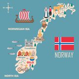 Stylized map of Norway. Travel illustration with norwegian landmarks, architecture, national flag and other symbols in flat style. Vector illustration vector illustration