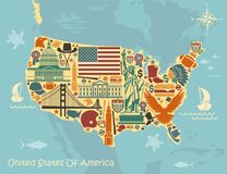 Stylized Map Of USA With Traditional Symbols Royalty Free Stock Image