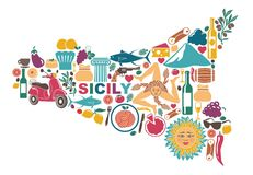 Stylized map of Sicily with traditional symbols stock illustration