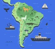 Stylized map of South America with indigenous animals and nature symbols. Simple geographical map. Flat vector stock illustration