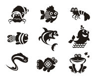 Stylized marine animals on a white background Stock Photography