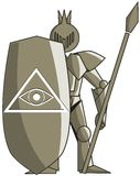 Stylized medieval knight with all seeing eye. Image representing a stylized soldier with armor. On his shield there is an all seeing eye, the symbol of Stock Image
