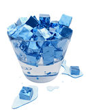 Stylized melting ice cubes in the glass bucket Royalty Free Stock Photos