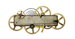 Stylized metal collage of clockwork. Steampunk collage -Metal collage of clockwork gears isolated on white background Royalty Free Stock Photo