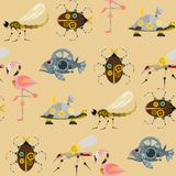 Stylized metal steampunk mechanic robots animals machine steam gear insect punk art machinery seamless pattern Royalty Free Stock Image