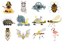 Stylized metal steampunk mechanic robots animals machine steam gear insect punk art machinery vector illustration. Stock Photography