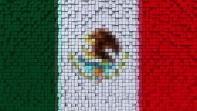 Stylized mosaic flag of Mexico made of pixels, 3D rendering. Stylized Mexican flag made of big pixels Royalty Free Stock Photography