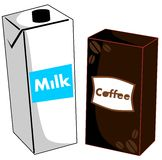Stylized Milk and coffee isolated Stock Photography