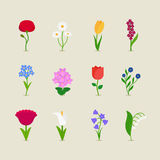 Stylized mod flowers vector illustration