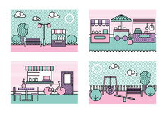 Stylized modern minimalistic vector city places illustrations. Park, playground, farmers market, street caffee. Stock Images