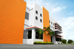 Stylized modern office building with parking lot. In front of it stock images