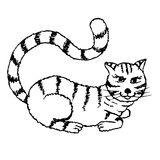 Stylized monochrome striped cat sketch, black and white hand drawn vector illustration Stock Photo