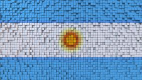 Stylized mosaic flag of Argentina made of pixels, 3D rendering. Stylized Argentinian flag made of big pixels Royalty Free Stock Photography