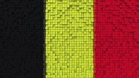 Stylized mosaic flag of Belgium made of pixels, 3D rendering. Stylized Belgian flag made of big pixels Stock Photos